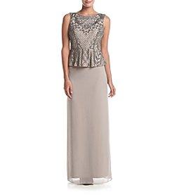Adrianna Papell® Peplum Waist Long Gown