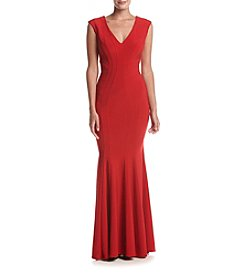 Betsy & Adam® Long V-Neck Gown