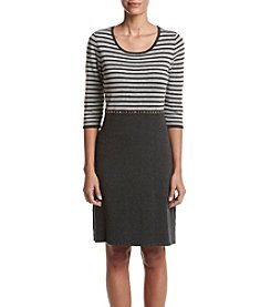 Calvin Klein Striped Stud Waist Fit And Flare Dress