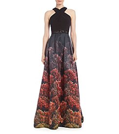 Adrianna Papell® Floral Hem Long Cocktail Dress