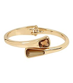 Robert Lee Morris Soho™ Goldtone Faceted Stone Bypass Hinged Bangle Bracelet