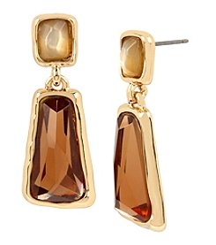 Robert Lee Morris Soho™ Goldtone Faceted Stone Double Drop Earrings