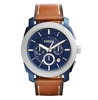 Fossil&Reg; Men's Machine Watch With Brown Leather Strap