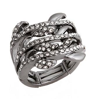 Erica Lyons® Hematite Tone Glamorous Multi Row Fashion Stretch Ring