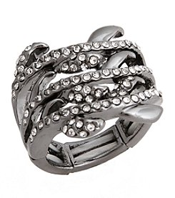 Erica Lyons® Hematite Tone Glamorous Multi Row Fashion Stretch Ring