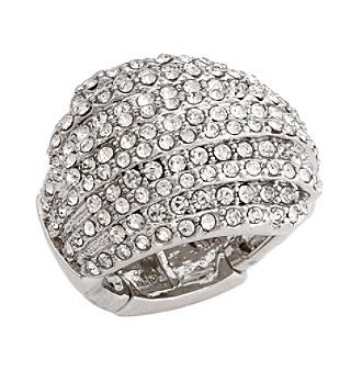 Erica Lyons® Silvertone Glamorous Dome Fashion Stretch Ring