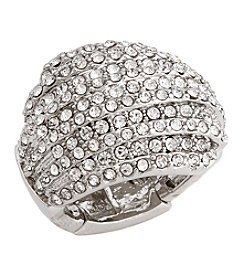 Erica Lyons® Silvertone Glamorous Dome Fashion Stretch Ring