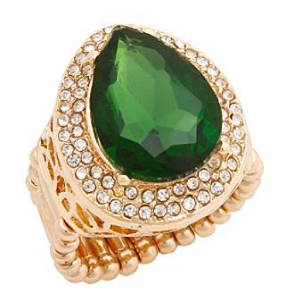 Erica Lyons® Goldtone Glamorous Teardrop Fashion Stretch Ring