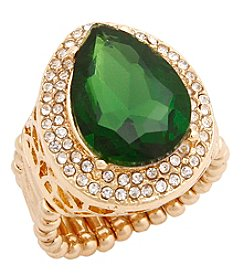 Erica Lyons® Goldtone Glamorous Teardrop Fashion Stretch Ring