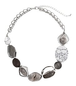 Erica Lyons® Silvertone Grey Area Chunky Bead Front Necklace