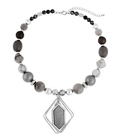 Erica Lyons® Silvertone Grey Area Short Pendant Necklace