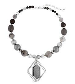 Erica Lyons® Silvertone Grey Area Short Pendant Necklace