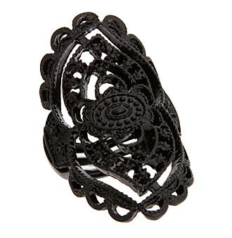 Erica Lyons® Black Tone Glamorous Oval Filigree Stretch Ring