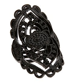 Erica Lyons® Black Tone Glamorous Oval Filigree Stretch Ring