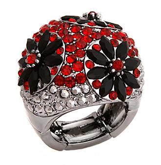 Erica Lyons® Hematite Tone Glamorous Dome Stretch Ring