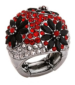 Erica Lyons® Hematite Tone Glamorous Dome Stretch Ring