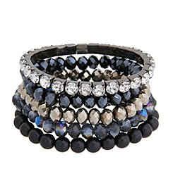 Erica Lyons® Hematite Tone You're So Sapphire Five Piece Stretch Bracelet