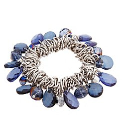 Erica Lyons® Silvertone You're So Sapphire Shaky Bead Stretch Bracelet