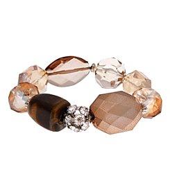 Erica Lyons® Silvertone Pop Fizz Clink Bold Bead Stretch Bracelet