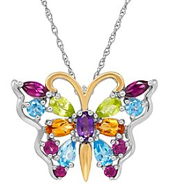 Multi Gem Pendant In Sterling Silver And 14K Yellow Gold