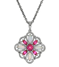 Pink Sapphire And Opal Pendant In Sterling Silver