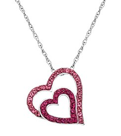 Impressions® Rose And Fuchsia Heart Crystal In Sterling Silver