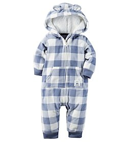 Carter's® Baby Boys Hooded Plaid Jumpsuit