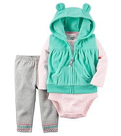 Carter's® Baby Girls' 3-Piece Hooded Vest Geo Set