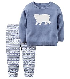Carter's® Baby Boys 2-Piece Polar Bear Sweater And Pants Set