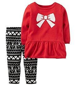 Carter's® Baby Girls' 2-Piece Bow Sweater And Leggings Set