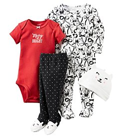 Carter's® Baby Girls' 4-Piece Merry & Bright Footie Set