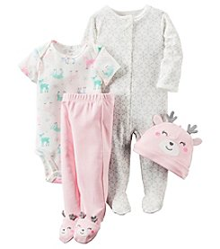 Carter's® Baby Girls' 4-Piece Reindeer Footie Set