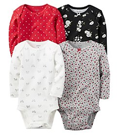 Carter's® Baby Girls' 4-Pack Long Sleeve Holiday Bodysuits