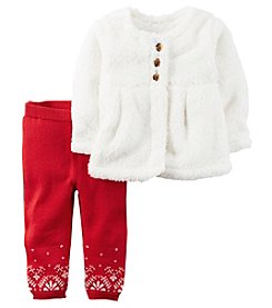 Carter's® Baby Girls' 2-Piece Sherpa Cardigan And Leggings Set