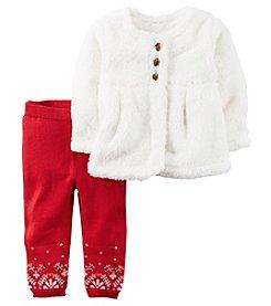 Carter's® Baby Girls' 2-Piece Sherpa Cardigan And Leggings Set