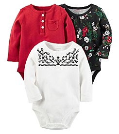 Carter's® Baby Girls' 3-Pack Long Sleeve Holiday Bodysuits