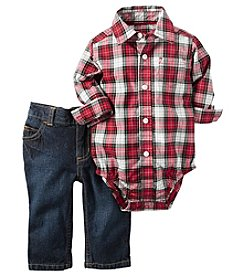 Carter's® Baby Boys 2-Piece Plaid Collared Bodysuit And Jeans Set