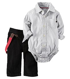 Carter's® Baby Boys 2-Piece Collared Bodysuit And Pants With Suspenders Set