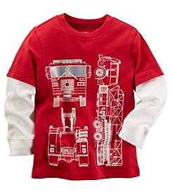 Carter's® Boys' 2T-8 Long Sleeve Layered Firetruck Tee