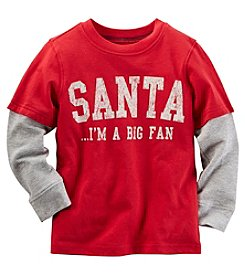 Carter's® Boys' 2T-8 Long Sleeve Layered Santa's Big Fan Tee