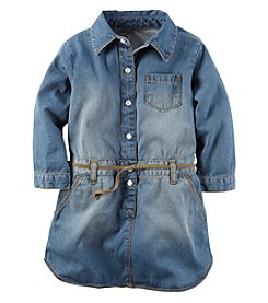 Carter's® Girls' 2T-8 Long Sleeve Belted Chambray Dress