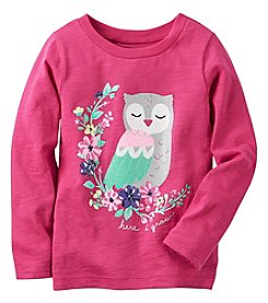Carter's® Girls' 2T-8 Long Sleeve Here Owl Grow Tee