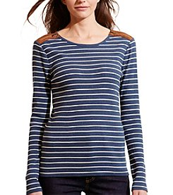 Lauren Ralph Lauren® Petites' Striped Zip-Shoulder Top