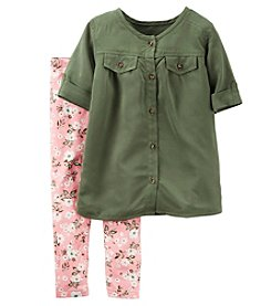 Carter's® Girls' 2T-4T 2-Piece Short Sleeve Top And Floral Leggings Set