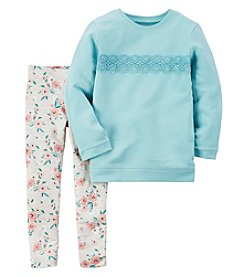 Carter's® Girls' 2T-4T 2-Piece Long Sleeve Top And Floral Leggings Set
