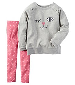 Carter's® Girls' 2T-4T 2-Piece Long Sleeve Kitten Top And Leggings Set