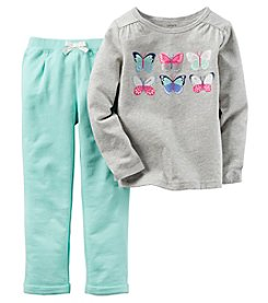 Carter's® Girls' 2T-4T 2-Piece Long Sleeve Butterfly Tee And Pants Set