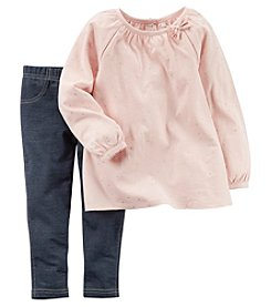 Carter's® Girls' 2T-4T 2-Piece Long Sleeve Speckled Top And Jeggings Set
