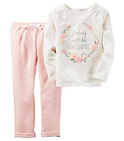 Carter's® Girls' 2T-4T 2-Piece Long Sleeve Awesome Tee And Pants Set