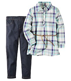 Carter's® Girls' 4-8 2-Piece Belted Plaid Tunic And Jeggings Set
